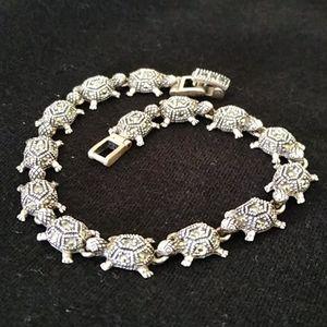 Vintage Sterling Silver Bracelet Marcasite Turtle